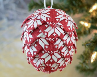 Polar Snowflake Christmas Ornament Red and White Scandinavian Nordic Winter Perfect Present for Mom or Gift for Secret Santa Office Exchange