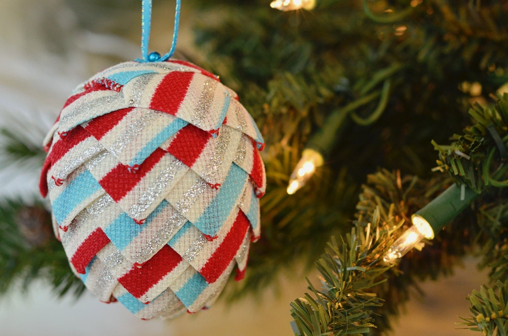 zoom Whimsical Striped Christmas Ornament Handmade Holiday