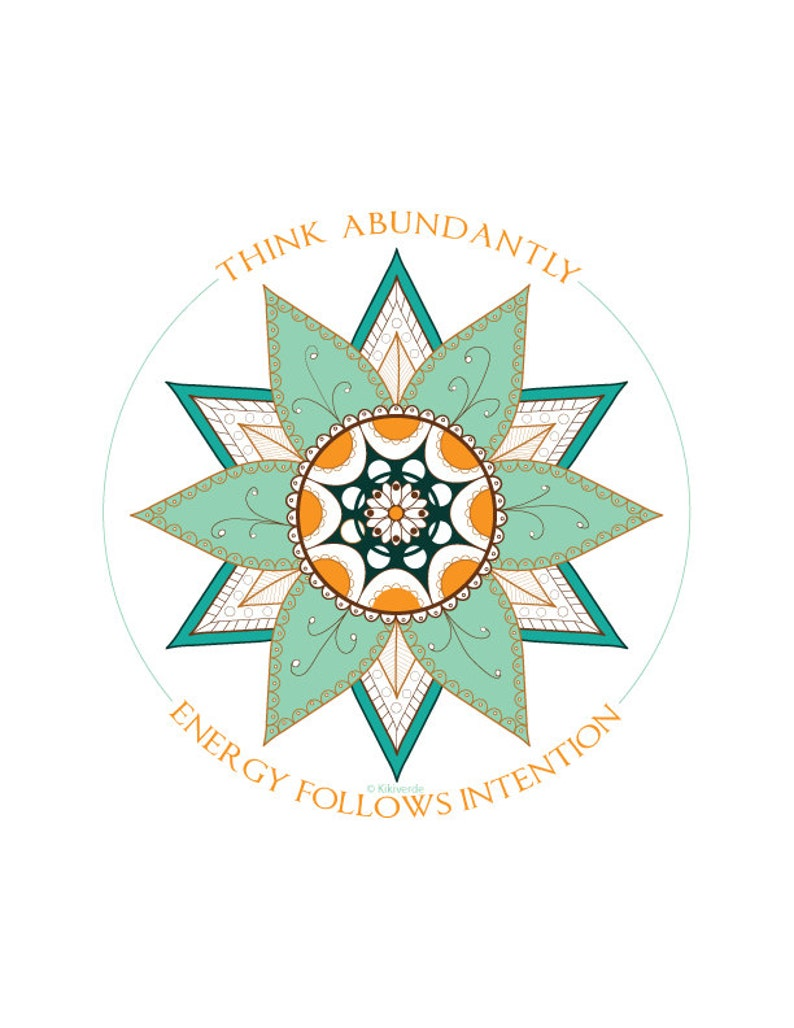 Think Abundantly Energy Follows Intention Wall Art in teal image 0