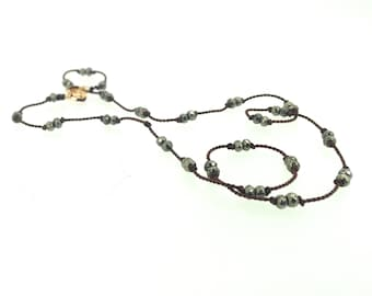 Hand knotted pyrite on silk necklace