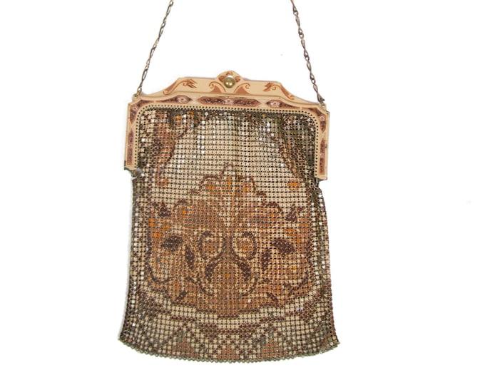 1920s Purse ~ Enamel Painted Mesh Art Deco Handbag