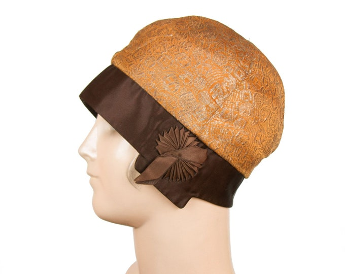 1920s Cloche Hat ~ Gold Lamé Orange and Brown Ribbon Embellished Hat