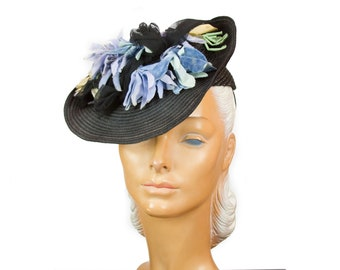 1940s Hat ~ Black Tilt Straw Periwinkle Flowers Tulle Victoriana Inspired  Hat cbbcbbc4dca7