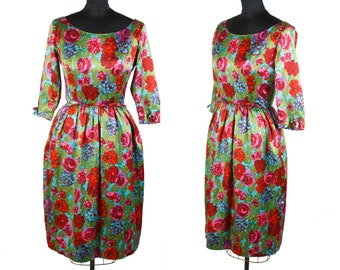 6c294fc9a8b3 Vintage 1950s Dress ~ Colorful Floral Cocktail Dress Bubble Skirt Low Back  by Gay Gibson