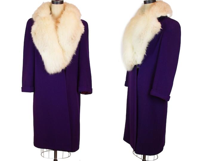 Vintage 1940s Coat ~ Purple Wool Ivory Fur Collar Heavy Winter Coat