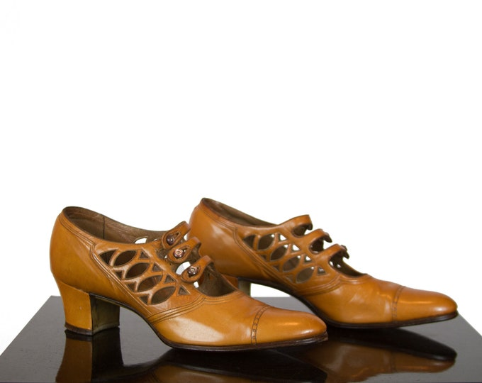1920s Shoes ~ Caramel Leather Triple Strap Open Work Oxfords