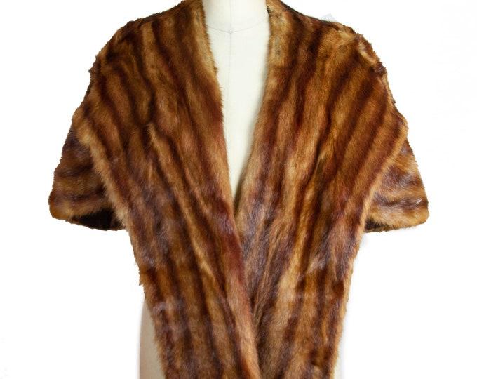 1940s Fur Stole ~ Brown Mink Fur Cape Stole Wrap