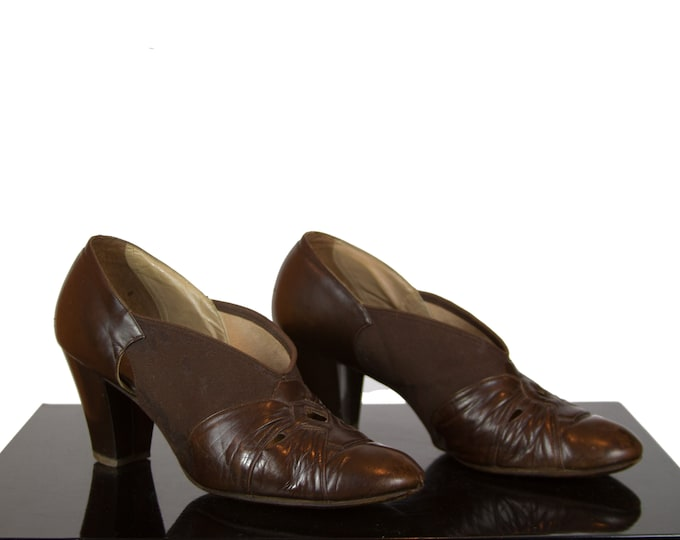 1930s High Heels ~ Brown Leather and Fabric Shoes