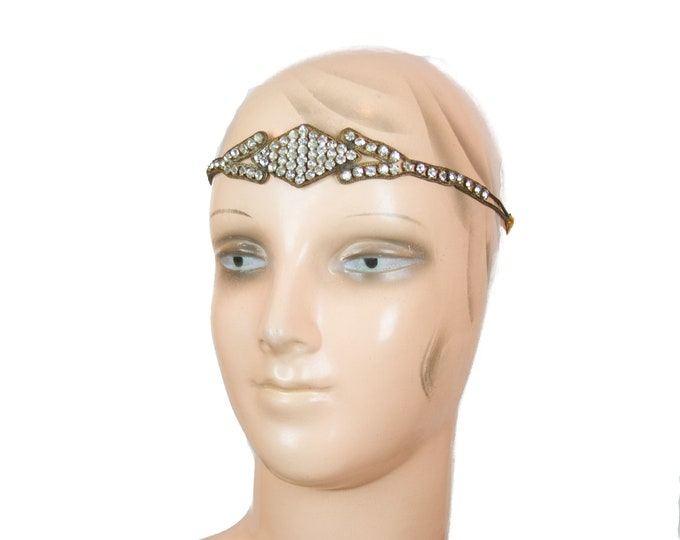1920s Rhinestone Headband ~ Paste Mesh Flexible Flapper Headpiece