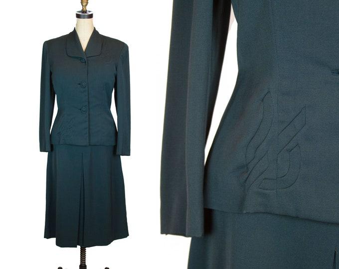 Vintage 1940s Suit ~ Green Gabardine Skirt Suit Set by La Bonna