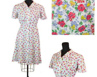 2d56ad33c67a Vintage 1940s Dress ~ Bright Spring Floral Cotton Button Front Puff Sleeve  Dress