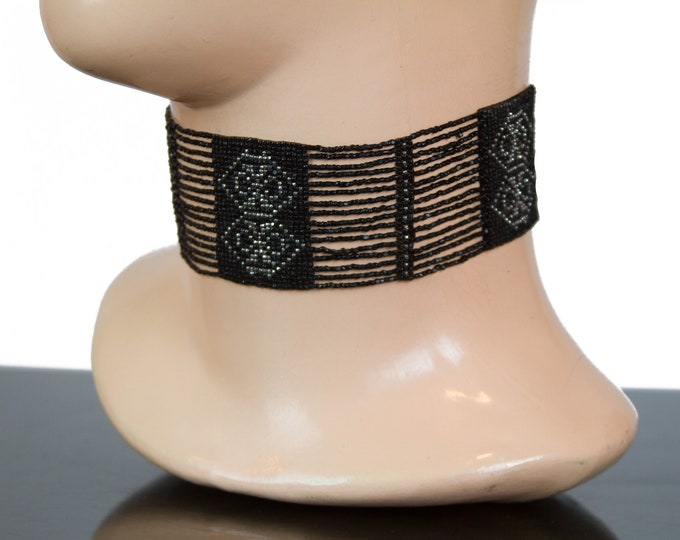 1920s Choker Necklace ~ Black and Silver Bead Loom Art Deco Necklace