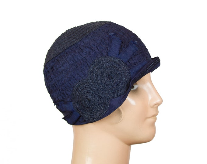 1920s Cloche Hat ~ Navy Straw and Shirring Rayon Cloche Hat