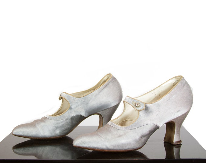 1920s High Heels ~ Silver Lamé Mary Jane Shoes Size 7 - 7.5
