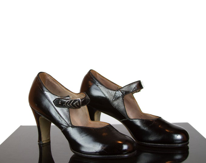 1920s High Heels ~ Black Patent Leather Art Deco Silver Snakeskin Shoes