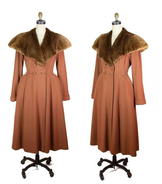 1940s Coat ~ Frostmann Light Brown Wool Princess C
