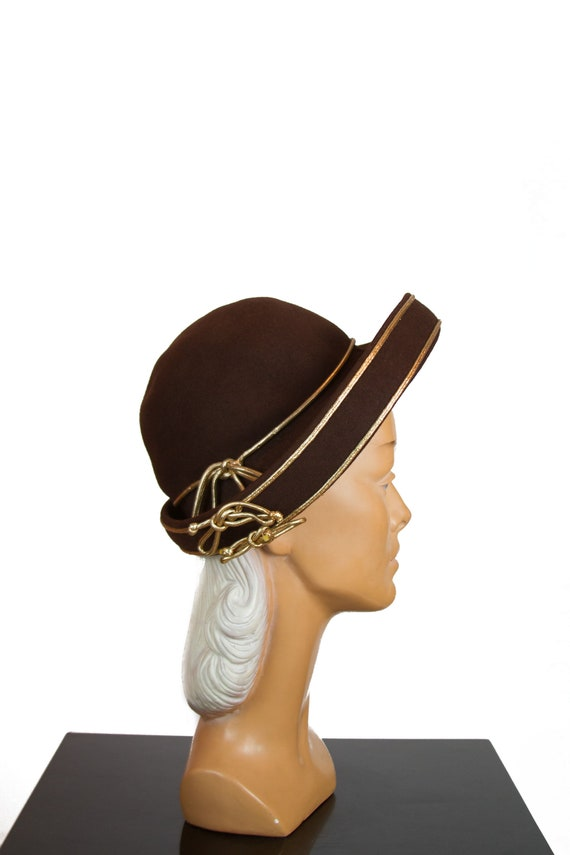 1940s Hat ~ Gold Cord Trimmed Brown Wool Roller Be