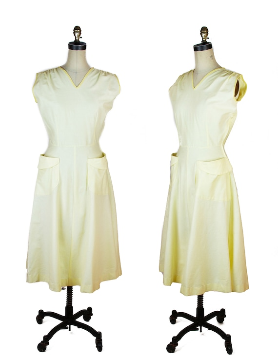 1950s Dress ~ Yellow Cotton Sleeveless Sundress Su