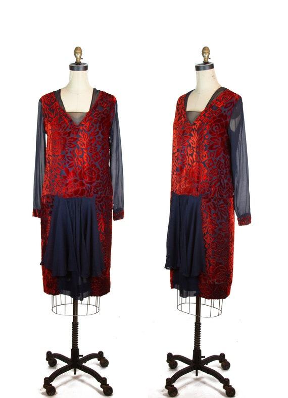 1920s Dress ~ Devoré Velvet Rust Flowers on Navy S