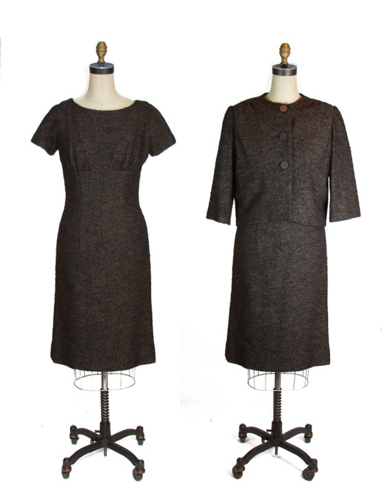 1950s Dress ~ Designer Fred Block Boucle Wool Dres