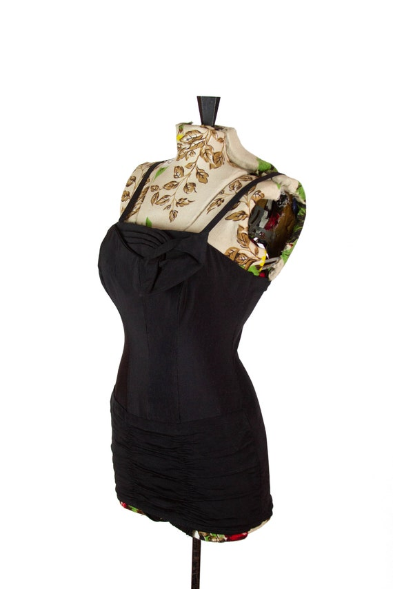 1950s Swimsuit ~ Black Ruched Pleated Bust Rose Ma