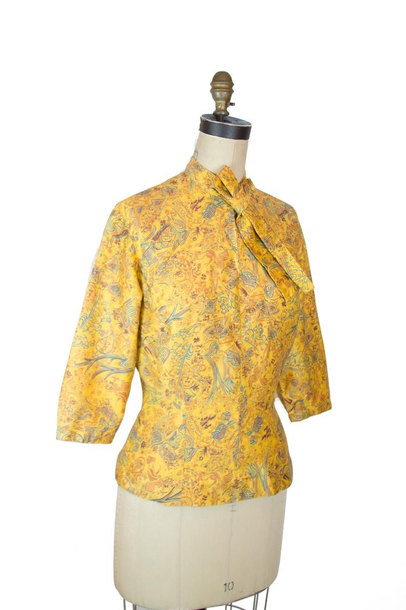 Vintage 1940s Blouse ~ Arabian Nights Novelty Print Mustard Polished Cotton Blouse Top