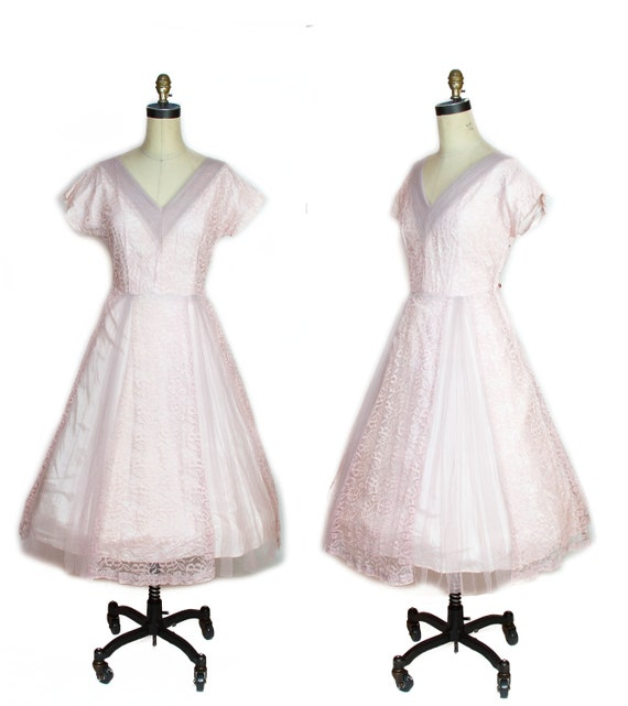 1950s Dress ~ Pink Lace Full Skirt Dress
