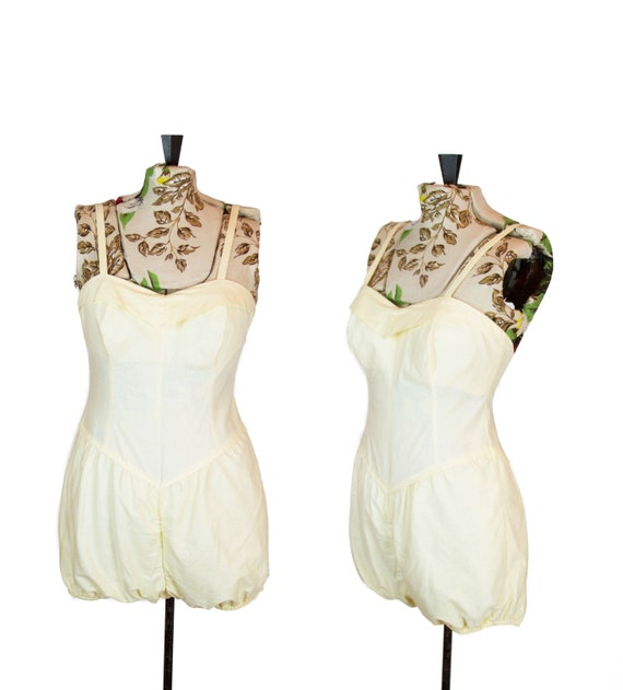 1950s Swimsuit ~ Yellow Cotton Bubble Sunsuit Play