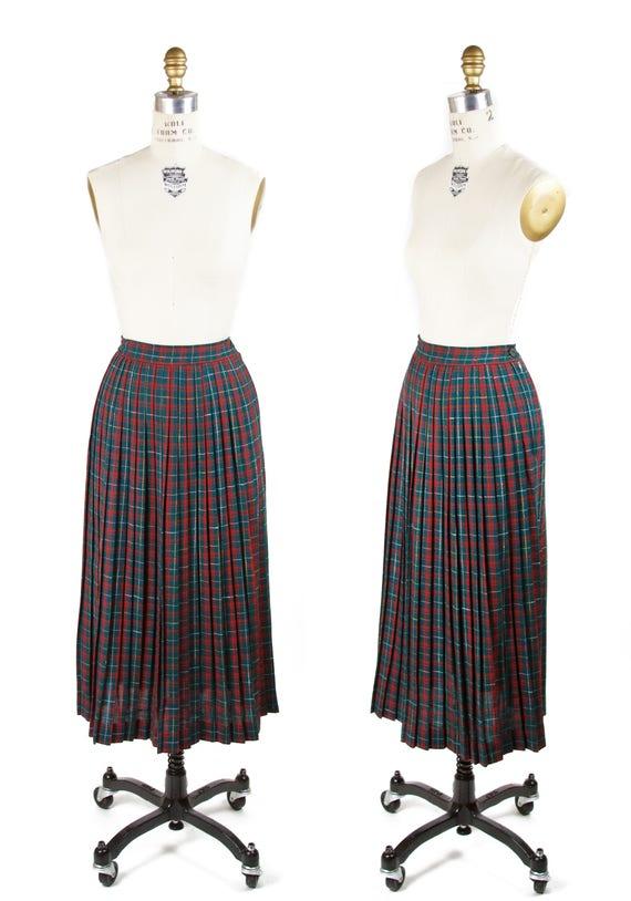 Vintage 1950s Skirt ~ Red Green Yellow Tartan Plea