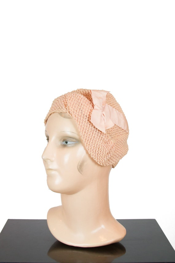 1920s Hat ~ Peachy Pink Boucle Texture Asymmetrica