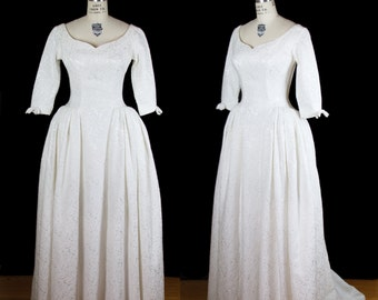 1950s Wedding Dress // White Brocade Princess Gown with Train and Floor Length Skirt