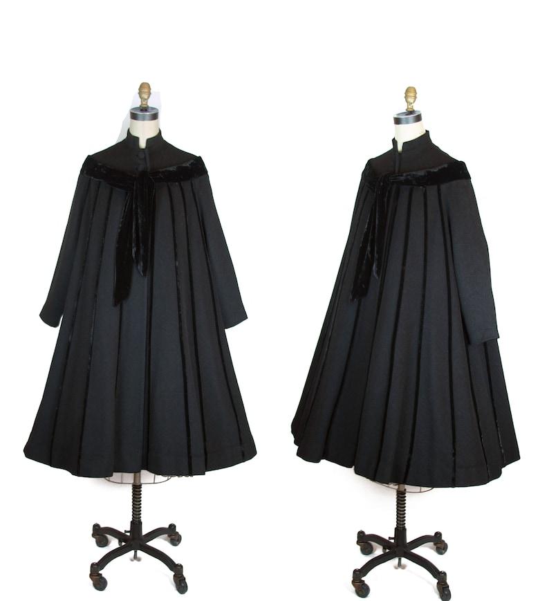839fac38fe6c7a 1950s Coat Designer Lilli Ann Black Wool Velvet Striped Tent | Etsy