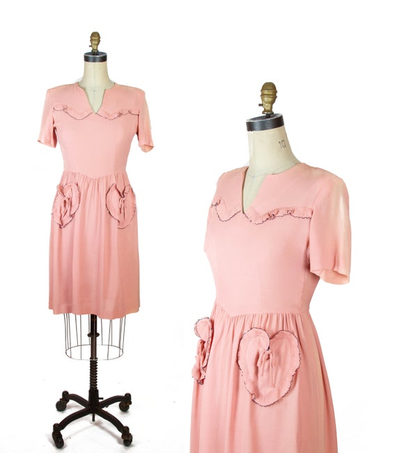 1940s Dress ~ Heart Pocket Pink Short Sleeve Dress