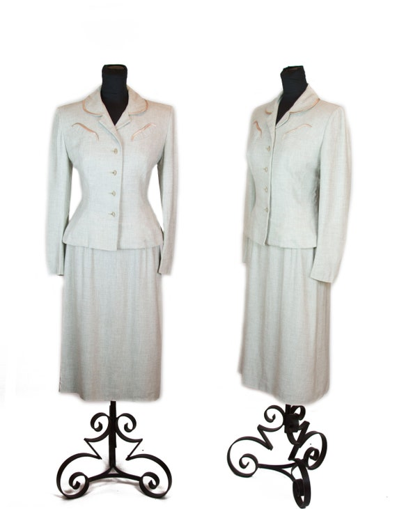 1950s Suit ~ Oatmeal Hourglass Gabardine Suit with
