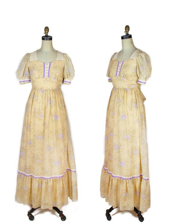 1970s Dress ~ Candi Jones Puff Sleeve Wheat and Vi