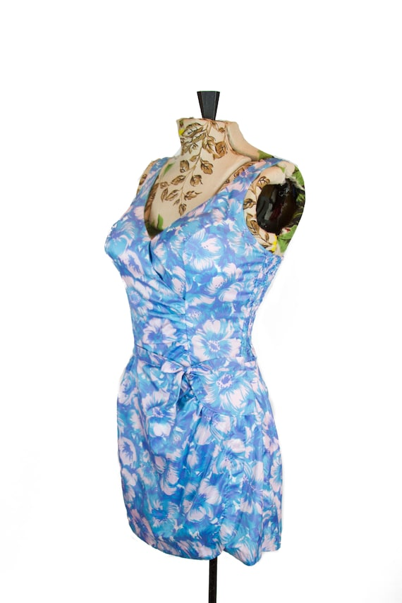 Vintage 1950s Swimsuit ~ Catalina Blue Floral Nylo
