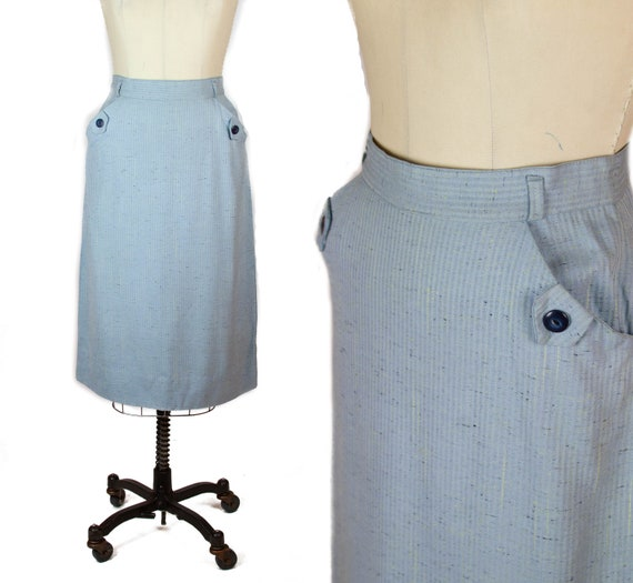 1950s Skirt ~ Blue Pencil Skirt with Pocket Button