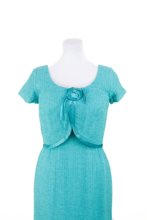 1950s Dress // Ruched Turquoise Chiffon Wiggle Dr… - image 2