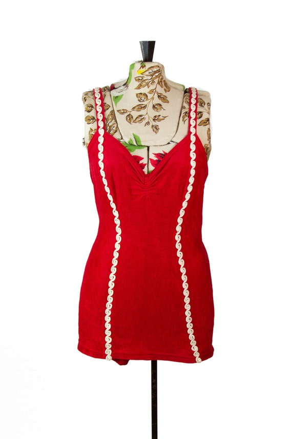 1940s Swimsuit ~ Red Bouclé Swimsuit with White Tr