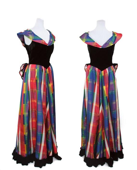 Vintage 1940s Dress ~ Rainbow Plaid Taffeta Full L