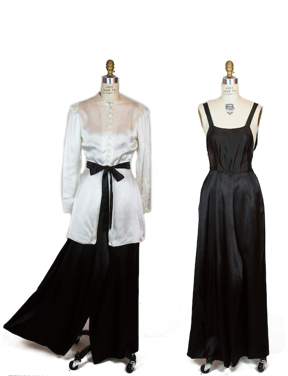 1930s Lounge Set ~ Black and White Satin Jumpsuit