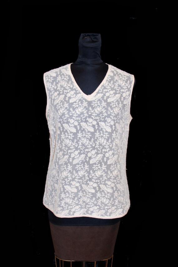 1920s Blouse // Ivory Tulle Lace Romantic Blouse