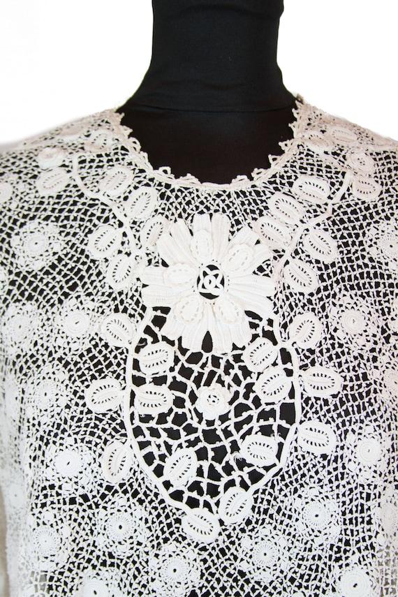Victorian Antique Blouse ~ White Irish Crochet Top - image 2