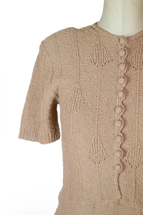 1940s Dress ~ Beige Snyder Knits Sweater Dress - image 4