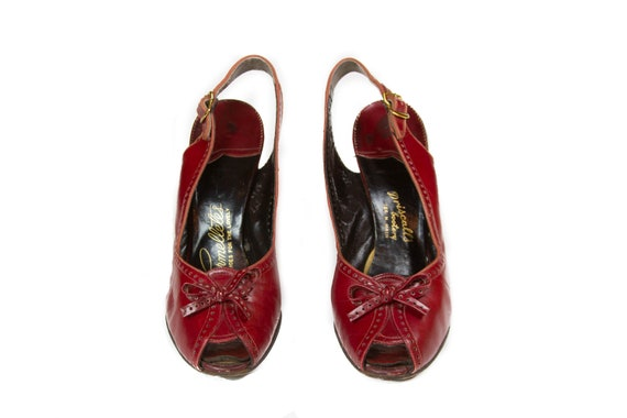 1940s High Heels ~ Red Leather Peep Toe Sling Back