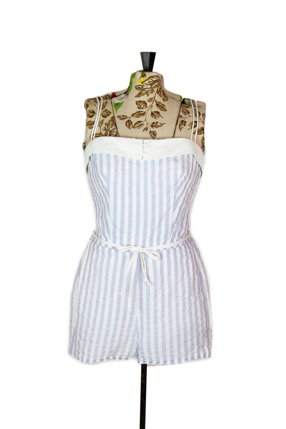 1950s Swimsuit ~ Blue and White Striped Cole of Ca