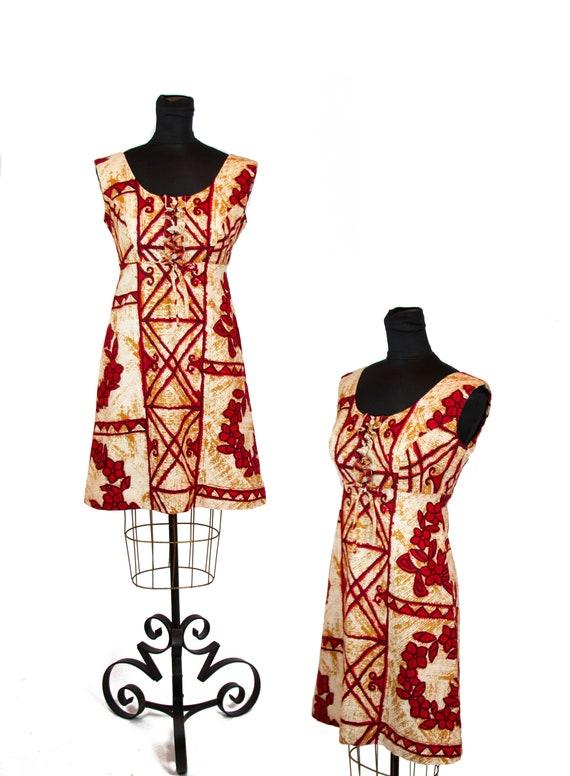Vintage 1960s Dress ~ Hawaiian Tiki Retro Barkclot