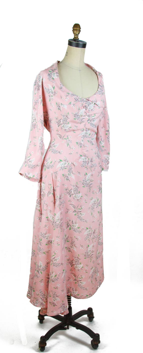 Vintage 1940s Dress ~ Pink Floral Cold Rayon Ruch… - image 5