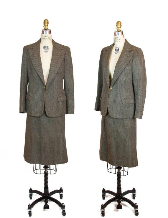 1930s Suit ~ Grey Pinstripe Wool Peak Collar Skirt