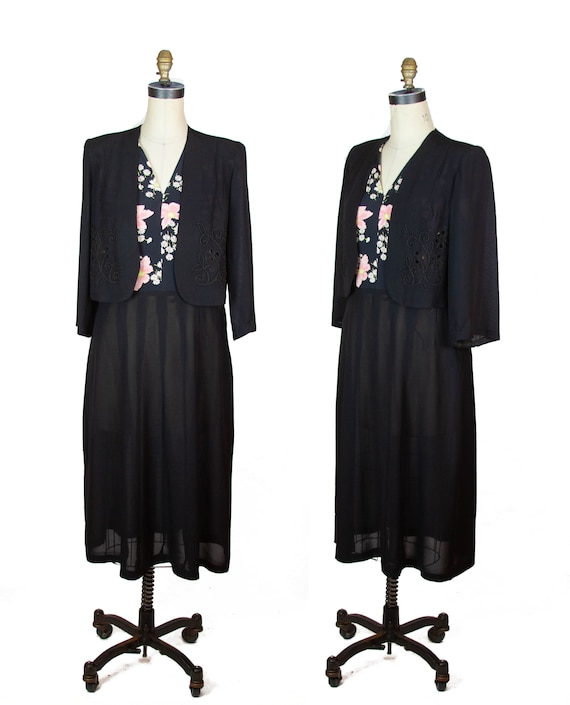 1940s Dress ~ Floral Cold Rayon and Black Faux Bol